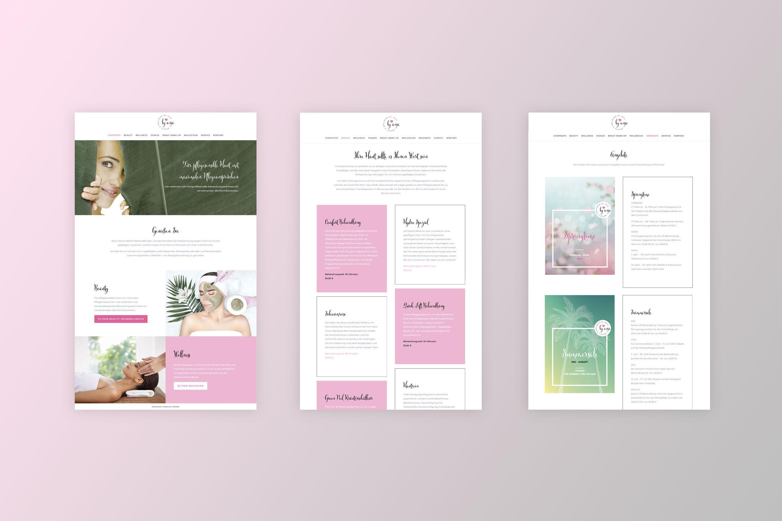 Gestaltung und Umsetzung der Internetseite für Kosmetikerin byanja