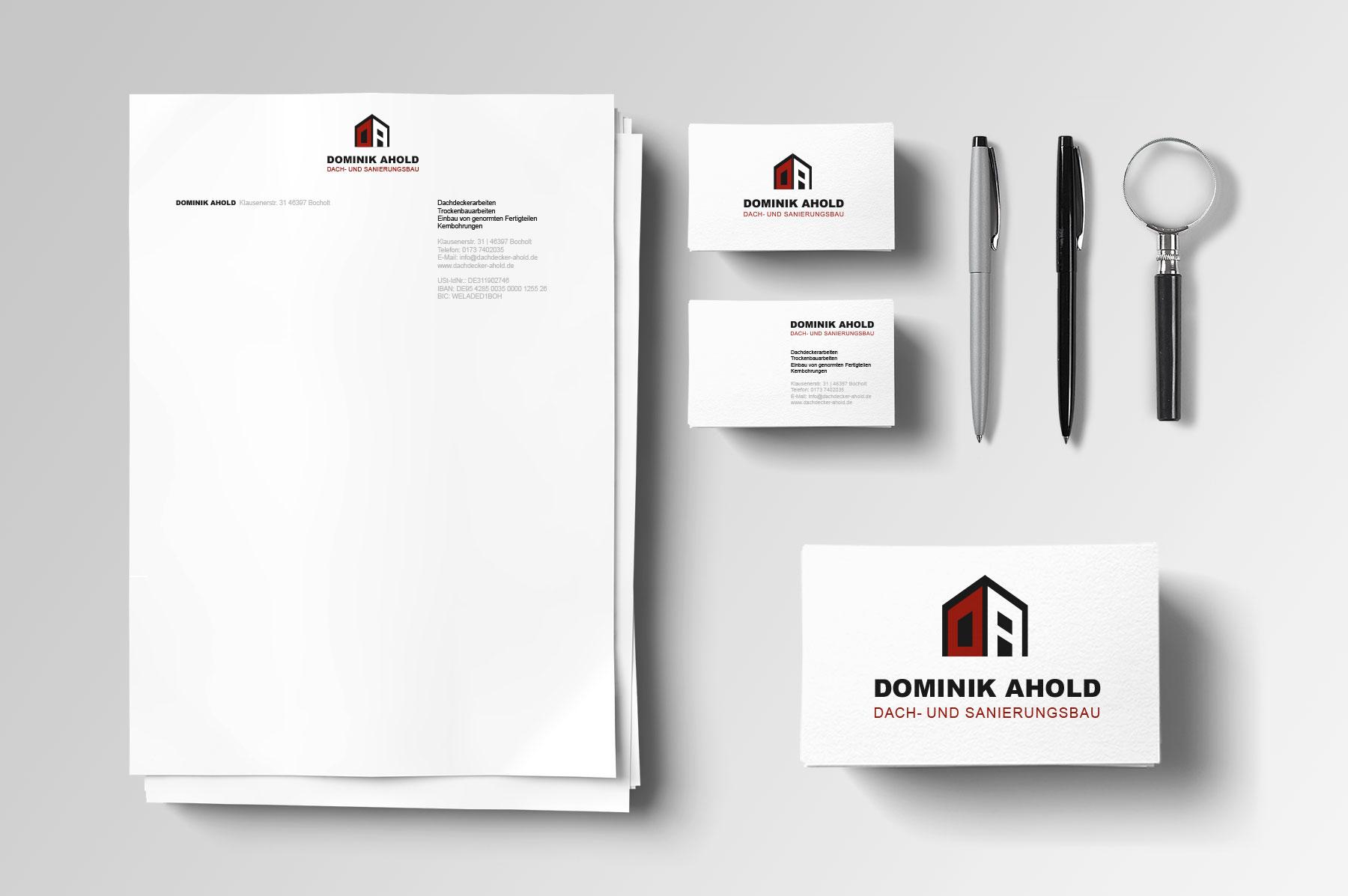 Corporate Design, Logo Design für Dach- und Sanierungsbau Dominik Ahold